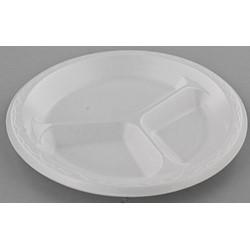 Celebrity White 3 Compartment Unlaminated Foam Plate (500/CS)